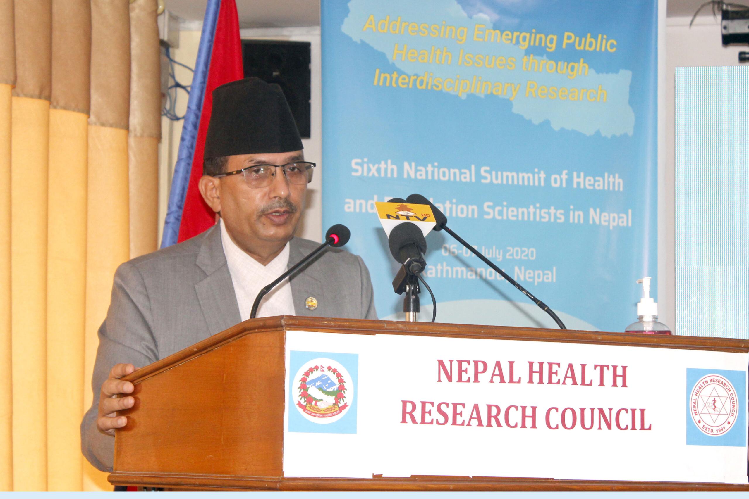 स्वास्थ्य सेवामा समान पहुँच वृद्धिका लागि अनुसन्धान आवश्यक - मन्त्री ढकाल