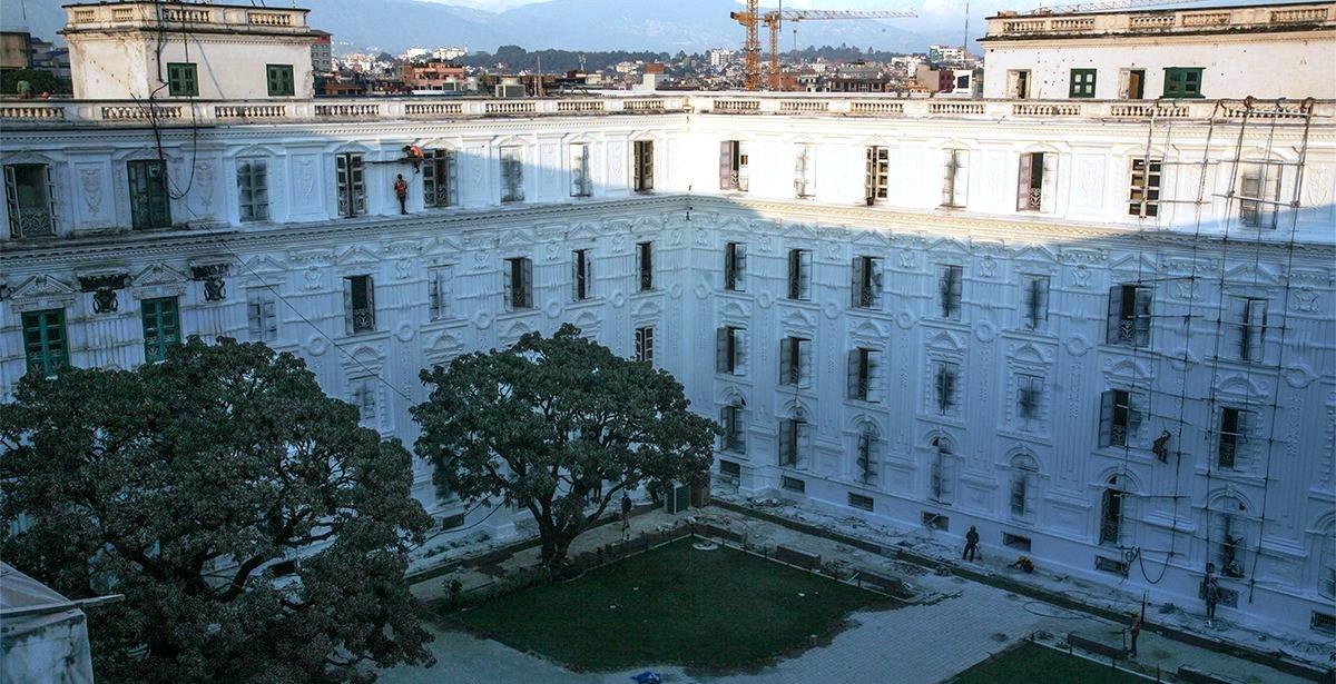 भूकम्पले क्षतिग्रस्त सिंहदरबारको मङ्सिर भित्र प्रवलीकरण सकिने