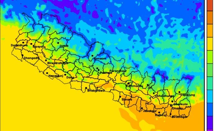 मौसम पूर्वानुमानः बिहीबारसम्म आंशिकदेखि सामान्य बदली